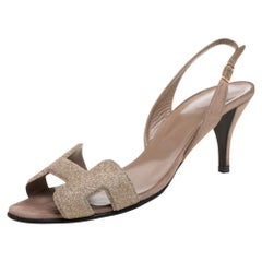 Hermes Beige Suede Night Crystal Powder Ankle Strap Sandals Size 38