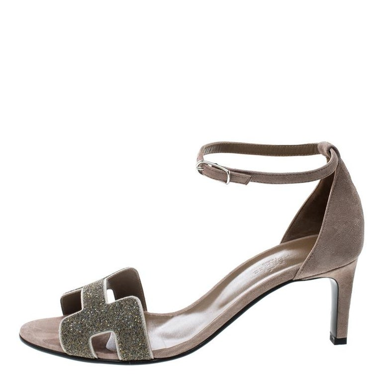 ab8fdf0b940e Hermes Beige Suede Night Crystal Powder Ankle Strap Sandals Size 40 For Sale