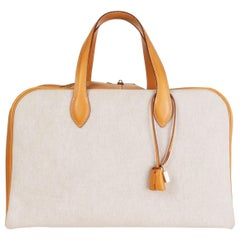 HERMES beige Vache Natural & Toile H VICTORIA 45 Weekend Bag