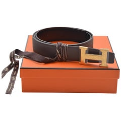 Hermes Belt 32MM Veau Togo Noir/Chocolat Buckle Guilloched NEW With Box