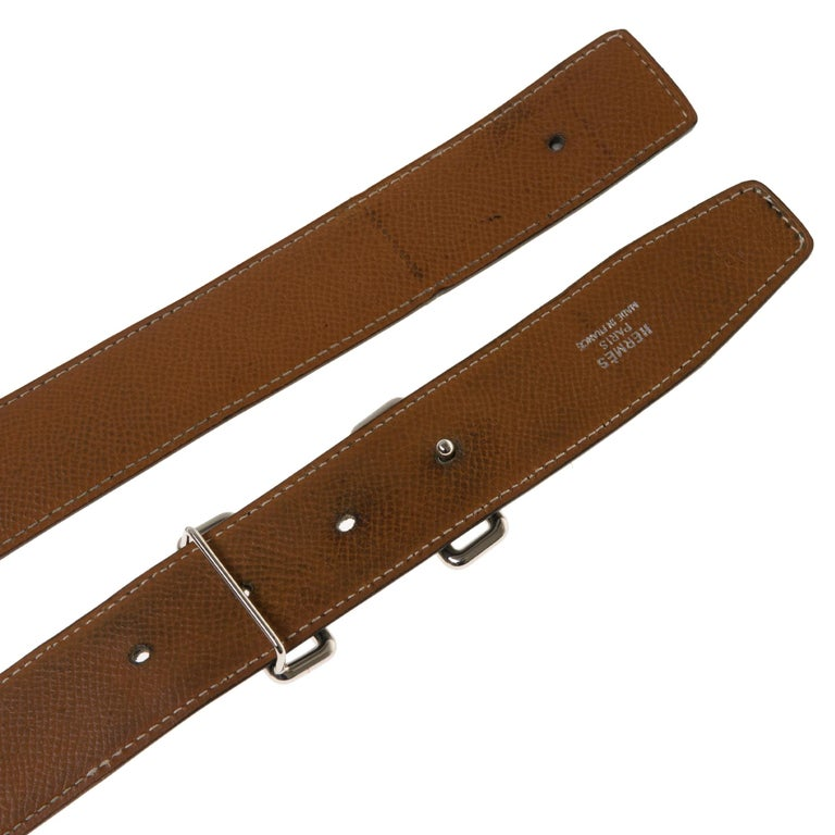 Black Hermès belt 37mm reverse in black and gold courchevel , Tonight buckle in silver For Sale