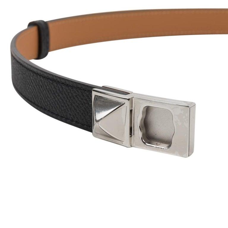Women's Hermes Belt Adjustable Rivale 18 Black Epsom Leather Palladium Medor Hardware For Sale