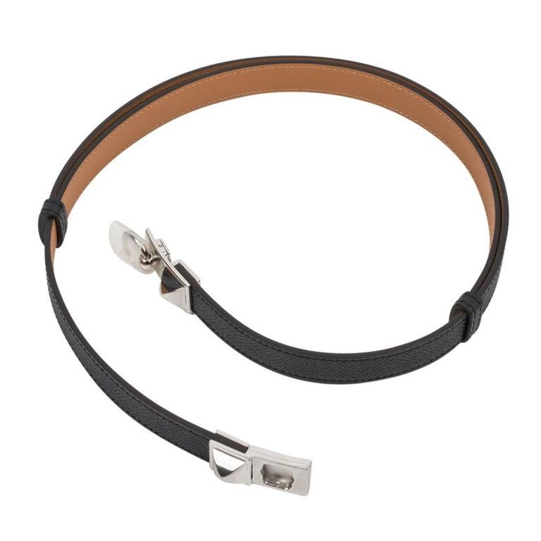 Hermes Belt Adjustable Rivale 18 Black Epsom Leather Palladium Medor Hardware For Sale 1