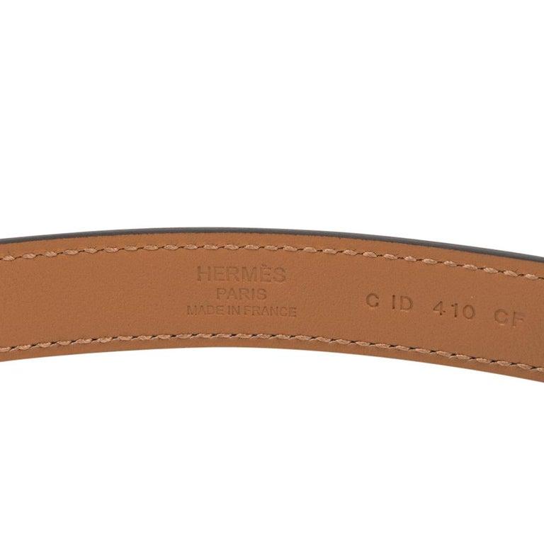 Hermes Belt Adjustable Rivale 18 Black Epsom Leather Palladium Medor Hardware For Sale 2