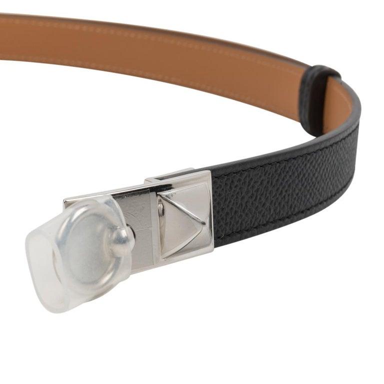 Hermes Belt Adjustable Rivale 18 Black Epsom Leather Palladium Medor Hardware For Sale 3
