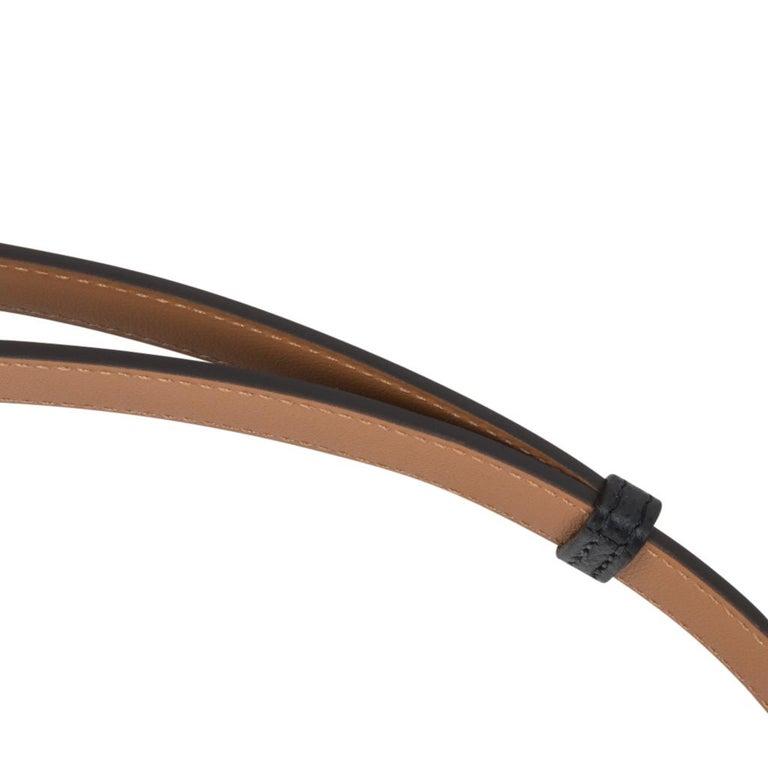 Hermes Belt Adjustable Rivale 18 Black Epsom Leather Palladium Medor Hardware For Sale 4