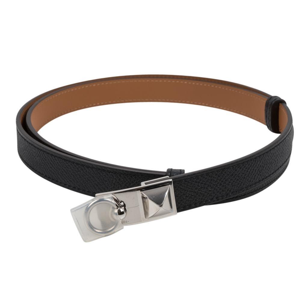 Hermes Belt Adjustable Rivale 18 Black Epsom Leather Palladium Medor Hardware