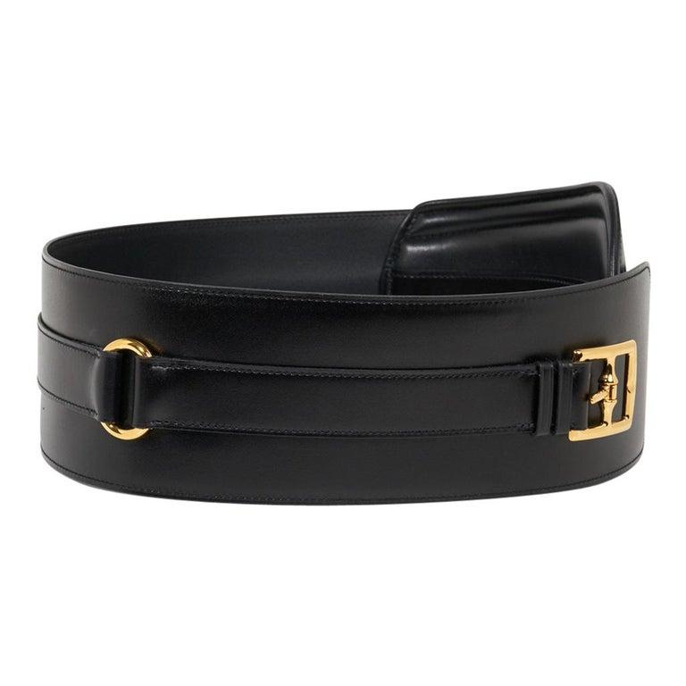 Women's Hermes Belt Clou de Selle Black High Waist Box Leather Gold Hardware 75 New For Sale