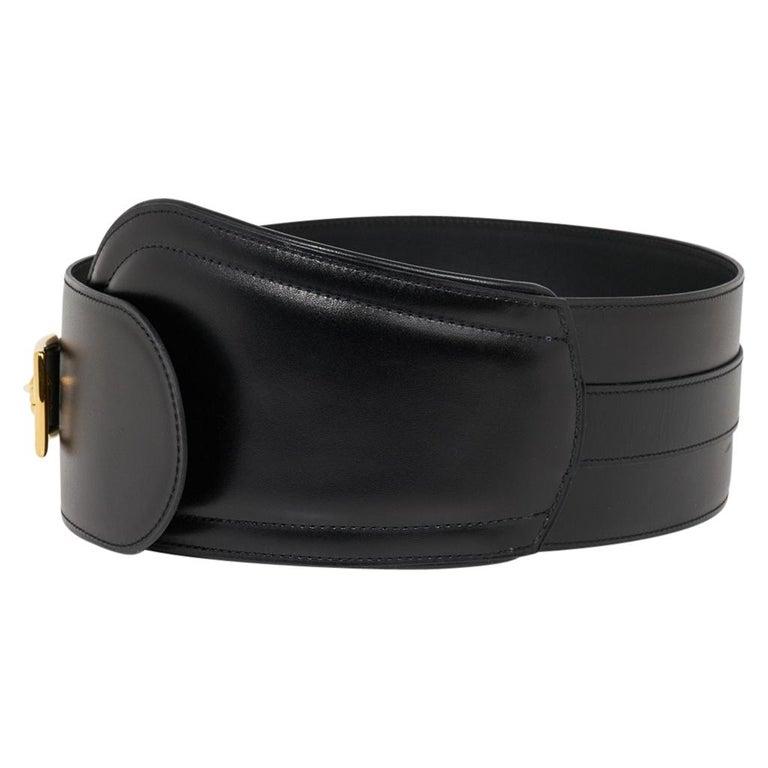 Hermes Belt Clou de Selle Black High Waist Box Leather Gold Hardware 75 New For Sale 1
