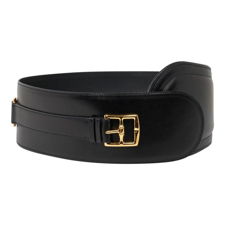 Hermes Belt Clou de Selle Black High Waist Box Leather Gold Hardware 75 New For Sale 3