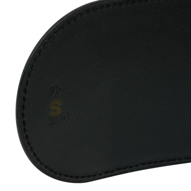 Hermes Belt Clou de Selle Black High Waist Box Leather Gold Hardware 75 New For Sale 4