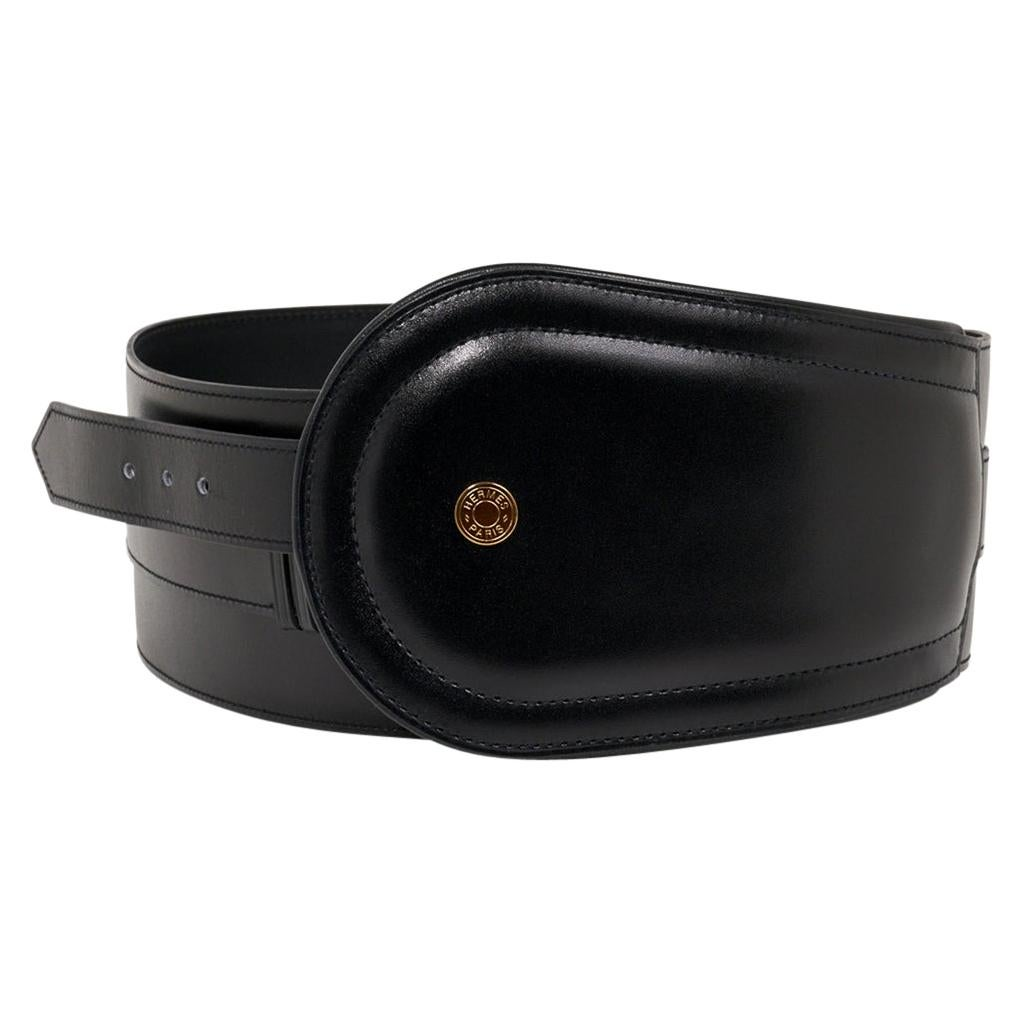 Hermes Belt Clou de Selle Black High Waist Box Leather Gold Hardware 75 New