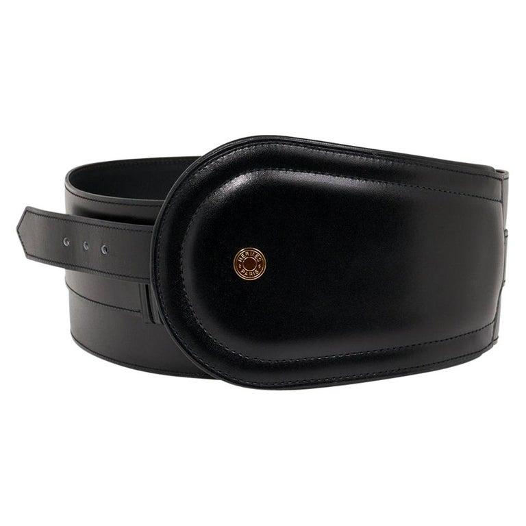 Hermes Belt Clou de Selle Black High Waist Box Leather Gold Hardware 75 New For Sale