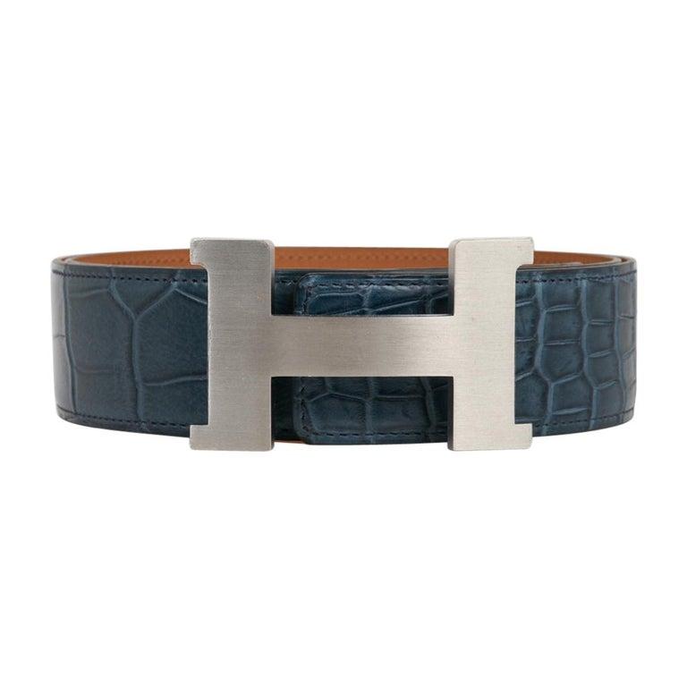 Black Hermes Belt Constance 42mm Bleu Tempete Matte Porosus Crocodile Palladium 90 For Sale