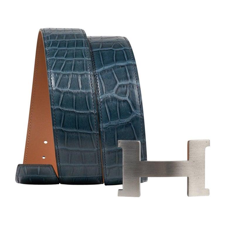 Hermes Belt Constance 42mm Bleu Tempete Matte Porosus Crocodile Palladium 90 For Sale