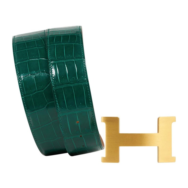 Hermes Belt Constance 42mm Emerald Porosus Crocodile / Brushed Gold Buckle 80 In New Condition For Sale In Miami, FL