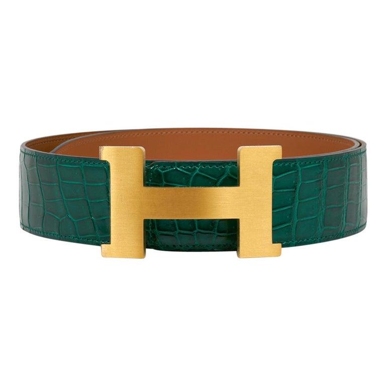 Women's or Men's Hermes Belt Constance 42mm Emerald Porosus Crocodile / Brushed Gold Buckle 80 For Sale
