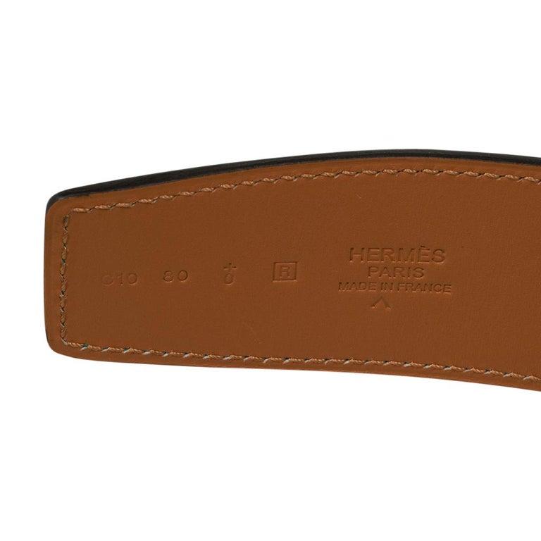 Hermes Belt Constance 42mm Emerald Porosus Crocodile / Brushed Gold Buckle 80 For Sale 3