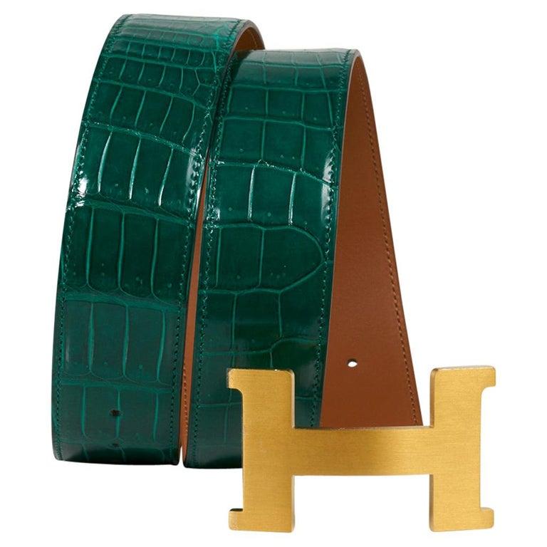Hermes Belt Constance 42mm Emerald Porosus Crocodile / Brushed Gold Buckle 80 For Sale