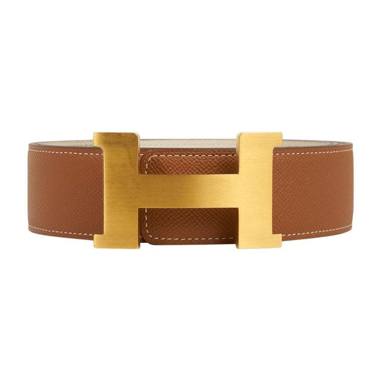 Brown Hermes Belt Constance 42mm Gold / Craie Brushed Gold Buckle 105 For Sale