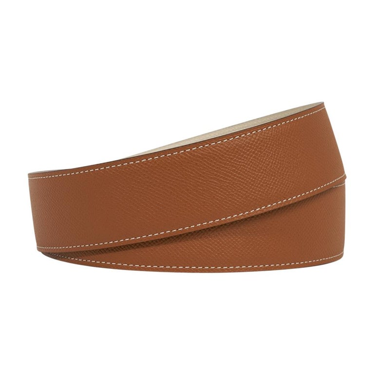 Hermes Belt Constance 42mm Gold / Craie Brushed Gold Buckle 105 In New Condition For Sale In Miami, FL