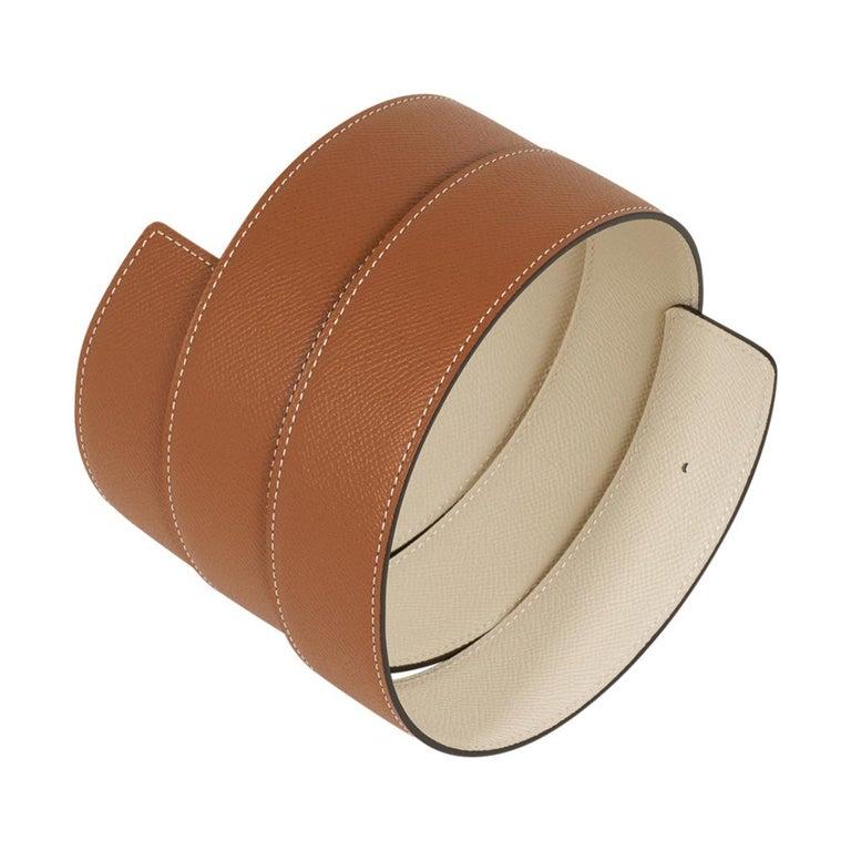 Women's or Men's Hermes Belt Constance 42mm Gold / Craie Brushed Gold Buckle 105 For Sale