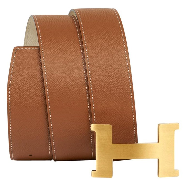 Hermes Belt Constance 42mm Gold / Craie Brushed Gold Buckle 105 For Sale
