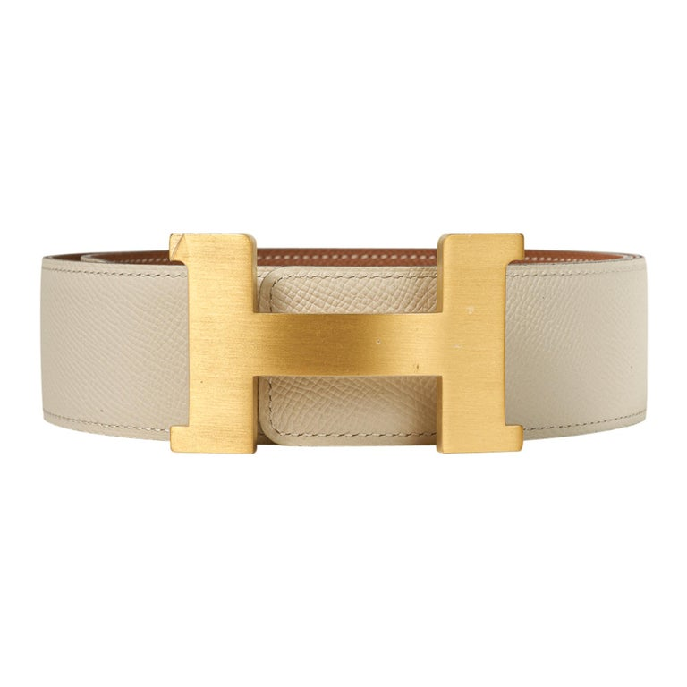Hermes Belt Constance 42mm Gold / Craie Brushed Gold Buckle 75 New In New Condition For Sale In Miami, FL