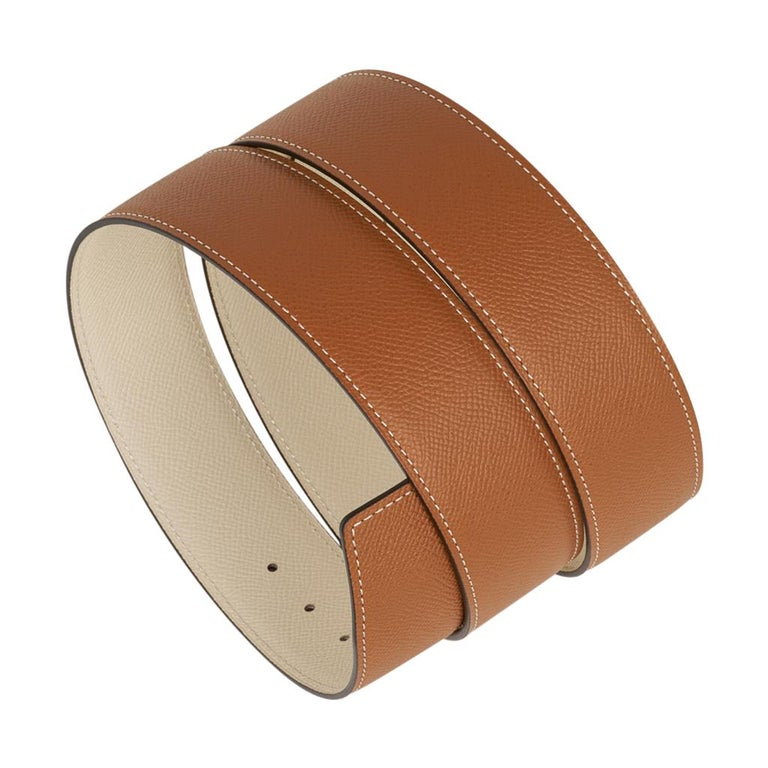 Women's or Men's Hermes Belt Constance 42mm Gold / Craie Brushed Gold Buckle 75 New For Sale