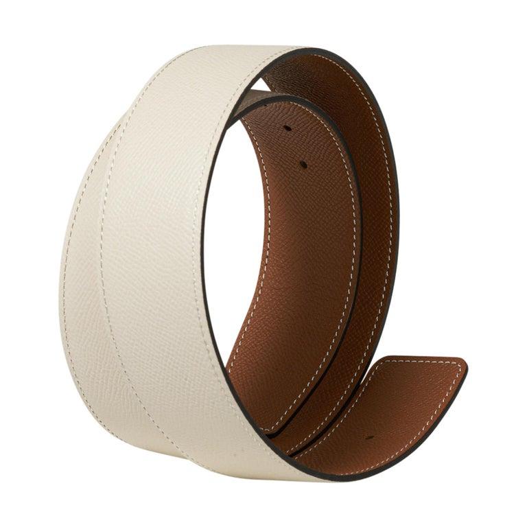 Hermes Belt Constance 42mm Gold / Craie Brushed Gold Buckle 75 New For Sale 2