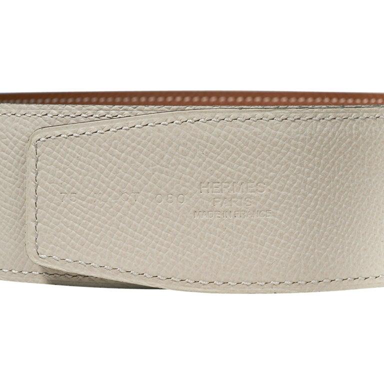 Hermes Belt Constance 42mm Gold / Craie Brushed Gold Buckle 75 New For Sale 4