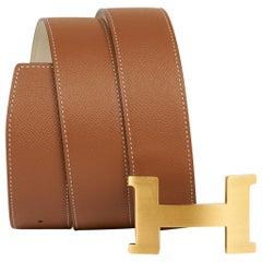 Hermes Belt Constance 42mm Gold / Craie Brushed Gold Buckle 75 New