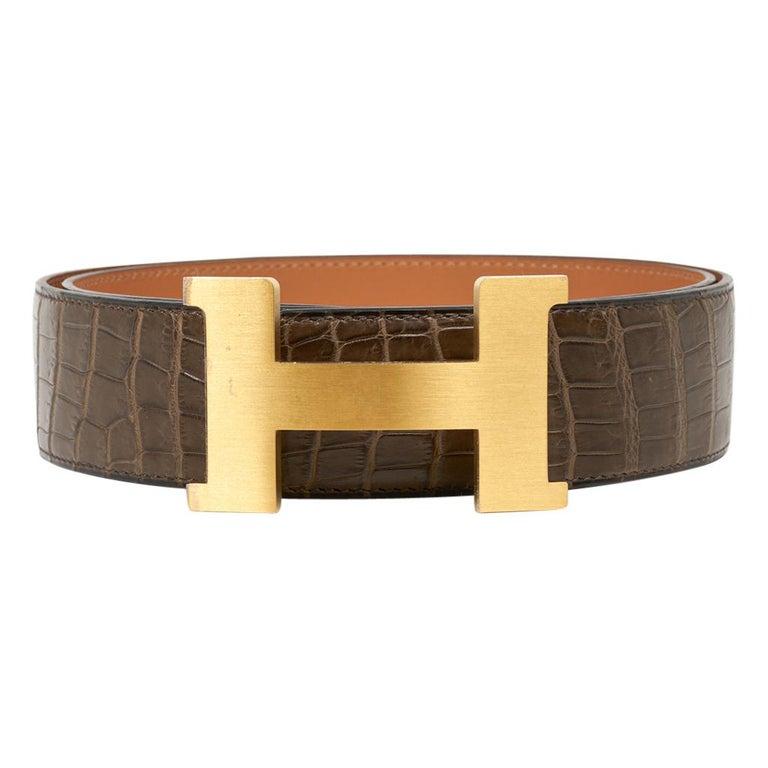 Brown Hermes Belt Constance 42mm Gris Elephant Matte Porosus Crocodile / Gold 90 For Sale