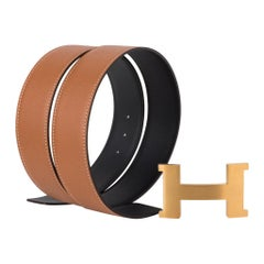 Hermes Belt Constance 42mm Kit Reversible Gold / Black Brushed Gold 85
