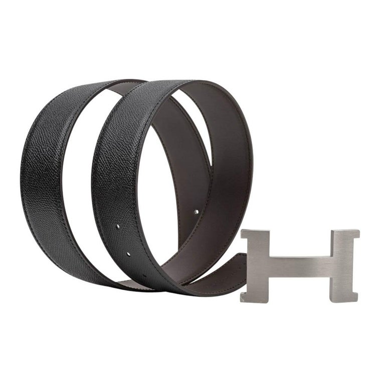 Hermes Belt Constance 42mm Reversible Black to Brown Brushed Palladium Buckle 80 In New Condition For Sale In Miami, FL