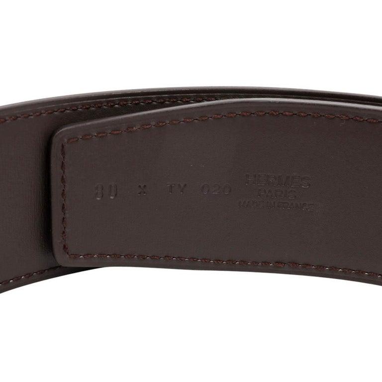 Hermes Belt Constance 42mm Reversible Black to Brown Brushed Palladium Buckle 80 For Sale 3