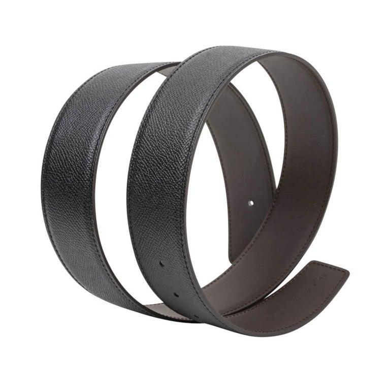 Women's or Men's Hermes Belt Constance 42mm Reversible Black to Brown Brushed Palladium Buckle 80 For Sale