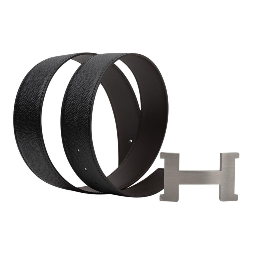 Hermes Belt Constance 42mm Reversible Black to Brown Brushed Palladium Buckle 80