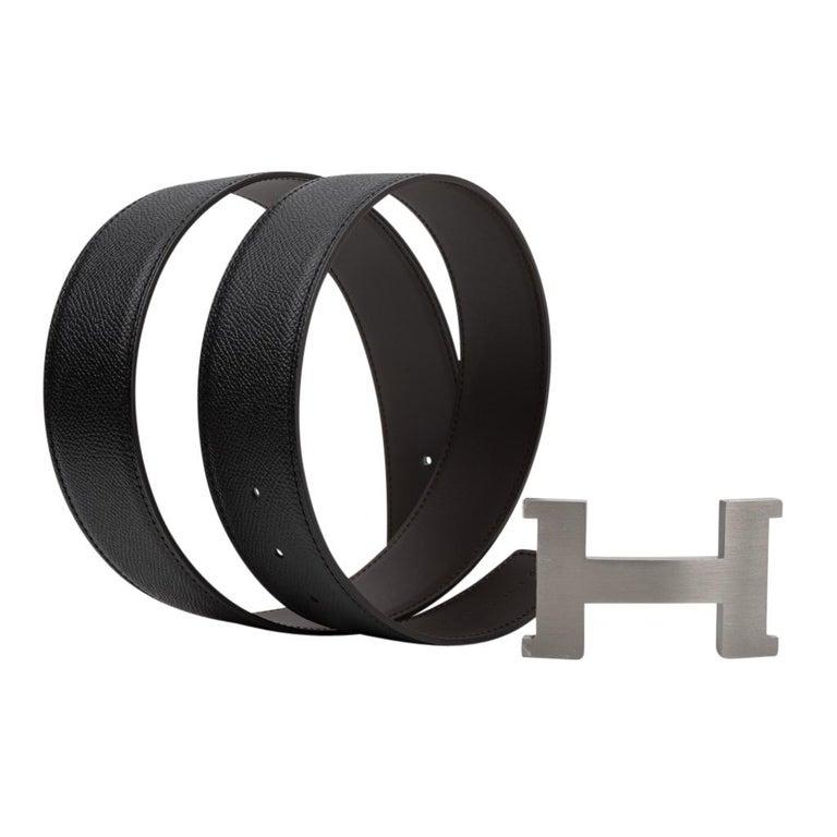 Hermes Belt Constance 42mm Reversible Black to Brown Brushed Palladium Buckle 80 For Sale