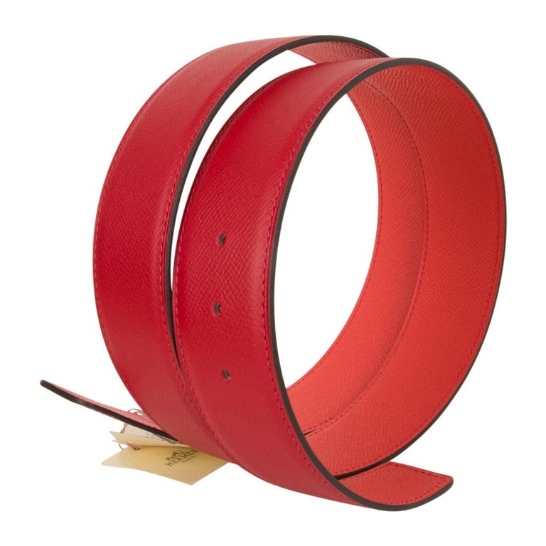Guaranteed authentic Hermes Constance 42 mm belt features reversible Rouge Coeur to Rose Jaipur epsom leather.   Fabulous over sized brushed palladium signature H buckle. Now a retired size, this is sure to become a collectors treasure.  Signature