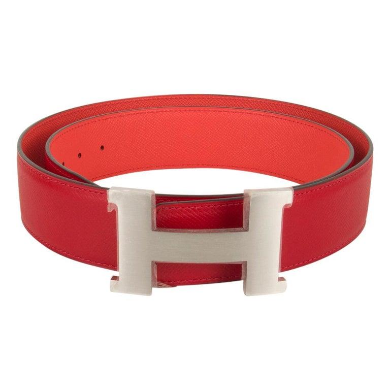 Red Hermes Belt Constance 42mm Rouge De Coeur and Rose Jaipur Brushed Palladium 95  For Sale