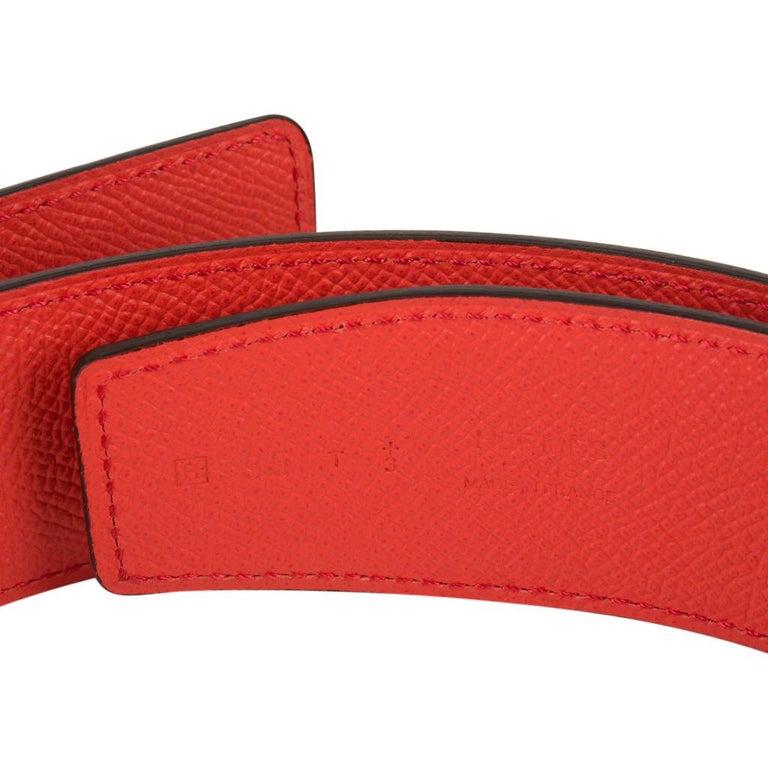 Women's or Men's Hermes Belt Constance 42mm Rouge De Coeur and Rose Jaipur Brushed Palladium 95  For Sale