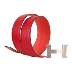Hermes Belt Constance 42mm Rouge De Coeur and Rose Jaipur Brushed Palladium 95