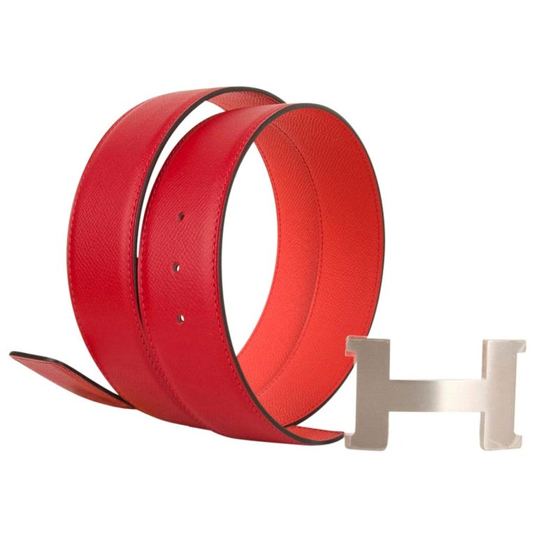 Hermes Belt Constance 42mm Rouge De Coeur and Rose Jaipur Brushed Palladium 95  For Sale