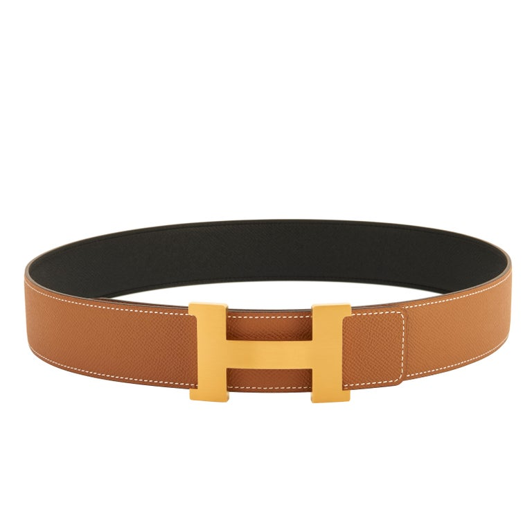 Hermes Belt Gold and Black Reversible Leather Gold Buckle Constance 42mm 85cm In New Condition For Sale In New York, NY