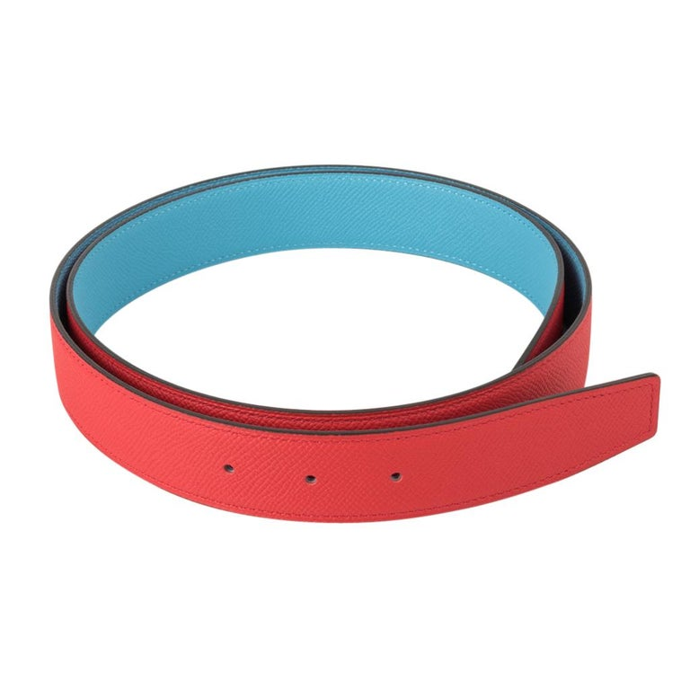 Guaranteed authentic Hermes coveted reversible 32 mm Constance H belt features rare Rouge Couer and Blue de Nord Epsom leathers.  This beautiful rich red and fresh blue is a rare to find combination! Rich with brushed gold signature H buckle.