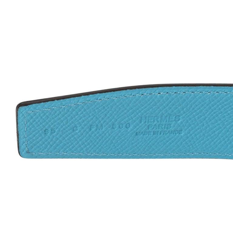 Women's or Men's Hermes Belt H Constance 32 mm Rouge Coeur / Blue De Nord Epsom Brushed Gold 95  For Sale