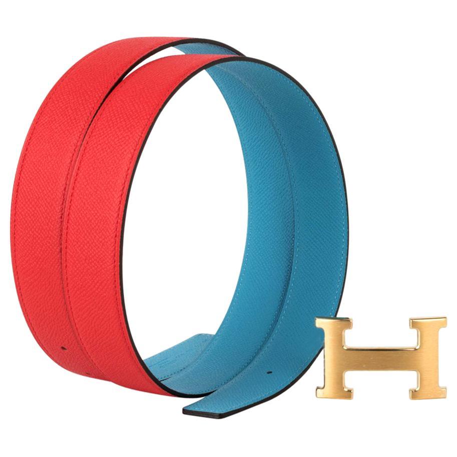 Hermes Belt H Constance 32 mm Rouge Coeur / Blue De Nord Epsom Brushed Gold 95