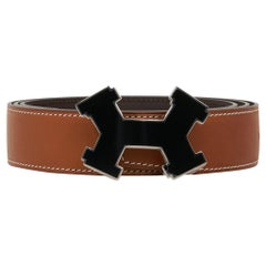 Hermes Belt H Constance 32mm Fauve Barenia /Dark Brown Street Laquer Buckle 95
