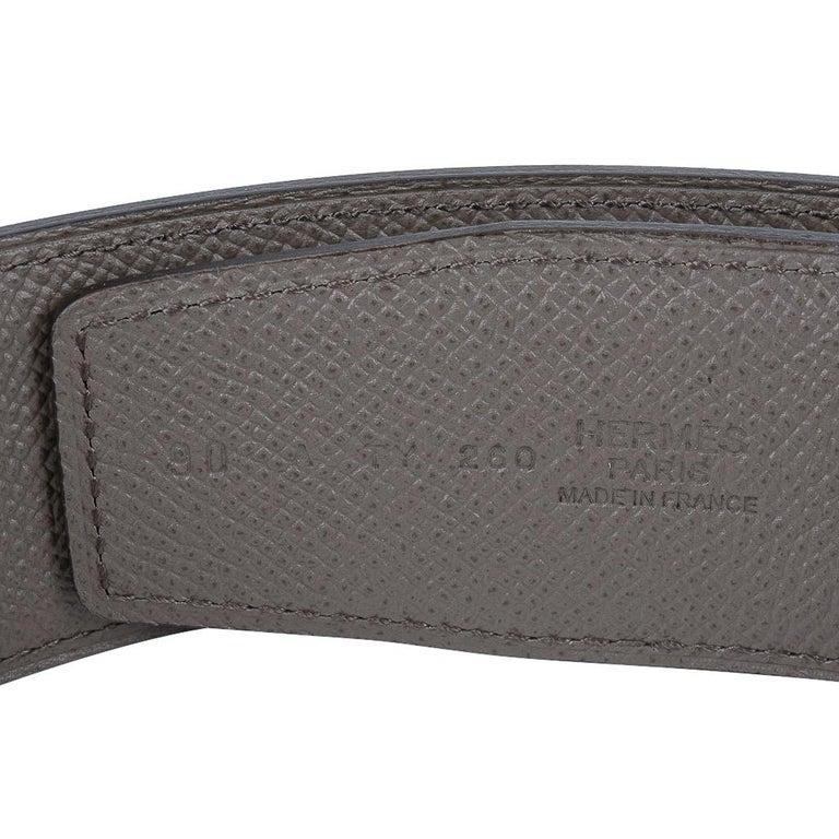 Hermes Belt H Constance 42mm Reversible Etain / Black Brushed Gold Buckle 90 For Sale 3
